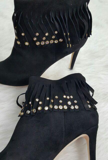 4a90acf3fbd6 Kate Spade Iselin Fringe Boho Studded Open Toe Suede Bootie Black 8 1 2 for  sale online