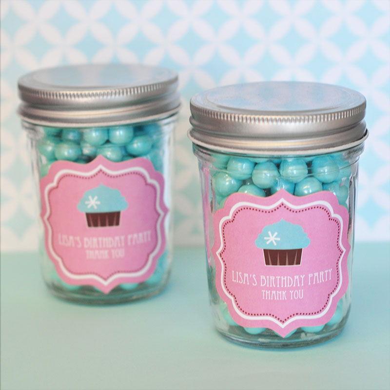 48 Personalized Cupcake Party Theme Mini Mason Jars Baby Shower Favors