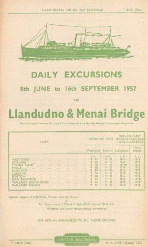 Llandudno /& Menai Bridge from the Wirral Wallasey Meols Hoylake Station 1957