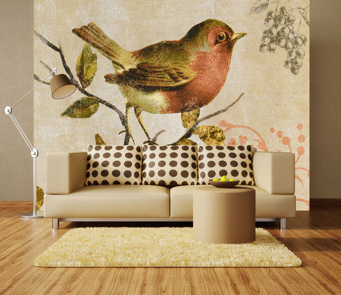 3D Bird On Branches Foraging 27 Wall Paper Wall Print Decal Wall AJ Wall Paper