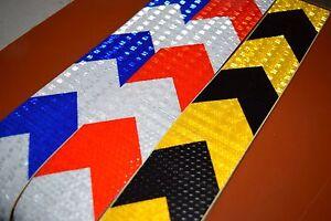 "1-10M 2"" 5CM Black Blue Yellow Arrow Reflective Warning Tape Sticker ker"