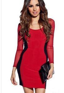 270b1956769d vestitino miniabito vestito abito tubino donna nero rosso manica ...