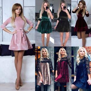 Womens-Velvet-Party-Cocktail-Mini-Dress-Ladies-Winter-Long-Sleeve-Skater-Dresses