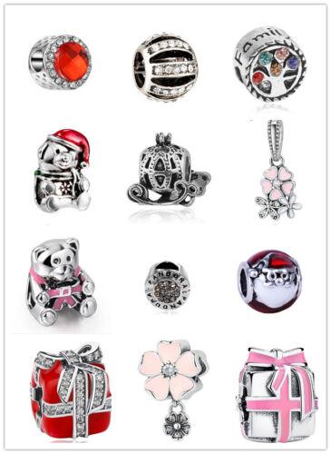 3 pcs European Silver CZ Charm Bead Fit sterling 925 Necklace Bracelet diy Chain