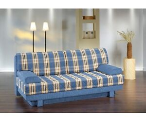 aurelia blau schlafsofa sofa 2 sitzer bettsofa couch bettfunktion mit kissen ebay. Black Bedroom Furniture Sets. Home Design Ideas