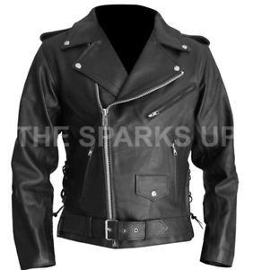 a4cfdb0bb Details about Terminator 2 Judgment Day Arnold Stylish Biker Outerwear  Black Leather Jacket