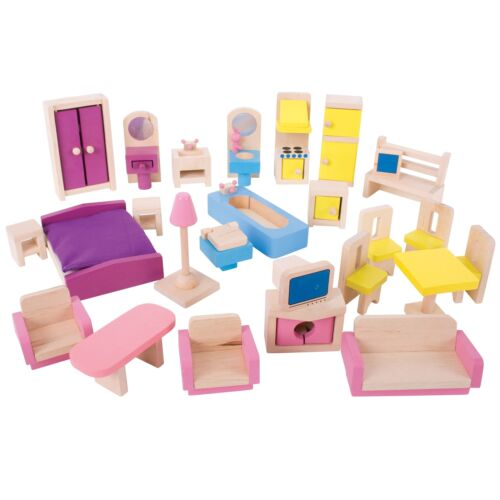Bigjigs Heritage Playsets Doll Furniture Play Set For Children Age 3 Years