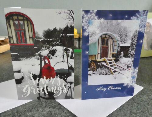 Romany Unique Xmas greetings Vardo 2 x GYPSY CARAVAN Christmas cards
