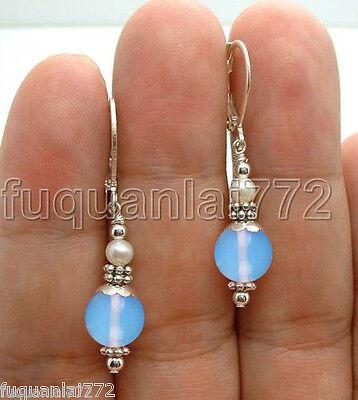 Handmade Blue Opal W. FWP Freshwater pearl Sterling Silver Earrings Leverbacks