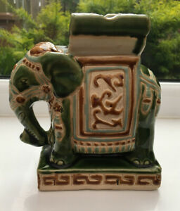 Vintage-Elephant-Ash-Tray-Ceramic-Elephant-Ornamental-Ash-Tray-Green-16-Cm