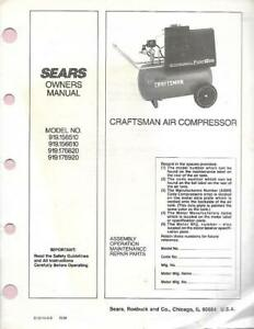 Sears-Craftsman-Air-Compressor-Assembly-Operation-Maintenance-Manual-10-86