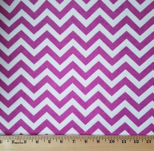 1 - 3/4 yards Orchid & White Chevron Flannel Quilt Fabric - 42