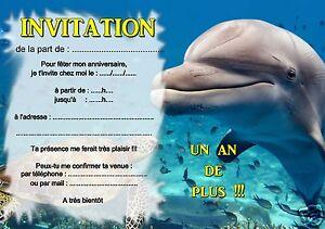 Carte Anniversaire Dauphin.5 Ou 12 Cartes Invitation Anniversaire Mer Dauphin Ref 369 Ebay