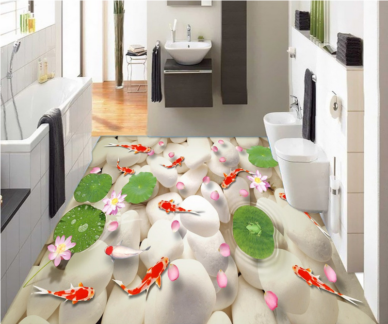 3D Koi Petals Stone 4 Floor WallPaper Murals Wall Print 5D AJ WALLPAPER UK Lemon