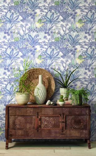 York Wallcoverings ON1612 Flowering Desert Wallpaper Blue