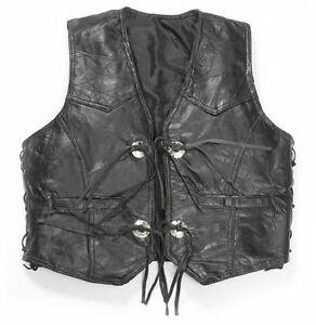 Smooth in Gilet pelle Cowl Leather Biker Nero Vacchetta Western Gilet Cowboy pelle in w6AqBB