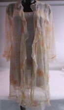 Pilus Mekong Orange Sheer Floral Night Dress and Gown - Size Medium #26E238