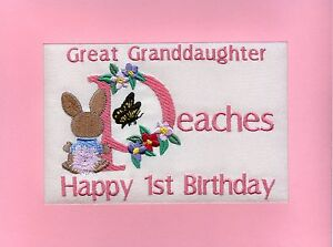 Image Is Loading Embroidered Personalised Granddaughter 039 S 1st Birthday Greeting