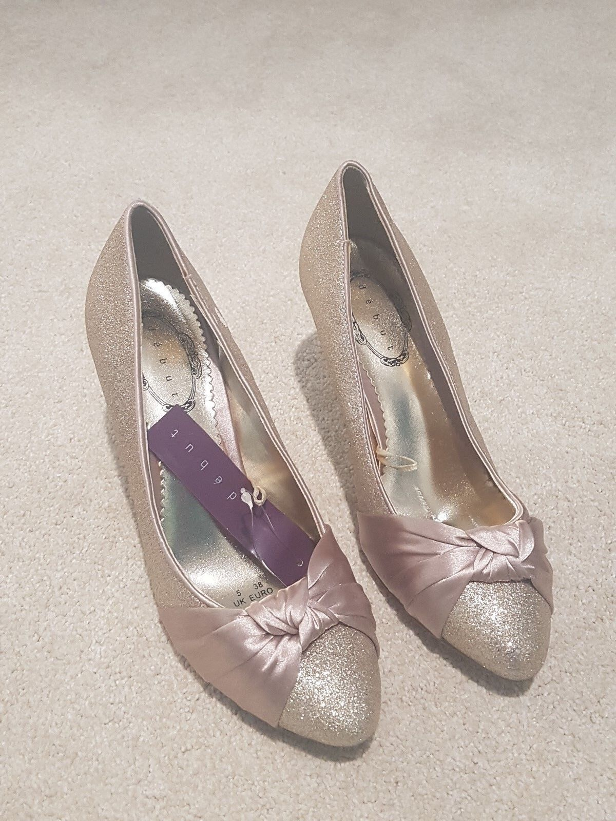 DEBUT GOLD TOE SPARKLY GLITTER SATIN KNOT TOE GOLD TRIM STILETTO HEEL PARTY COURT SHOES 5 35e223
