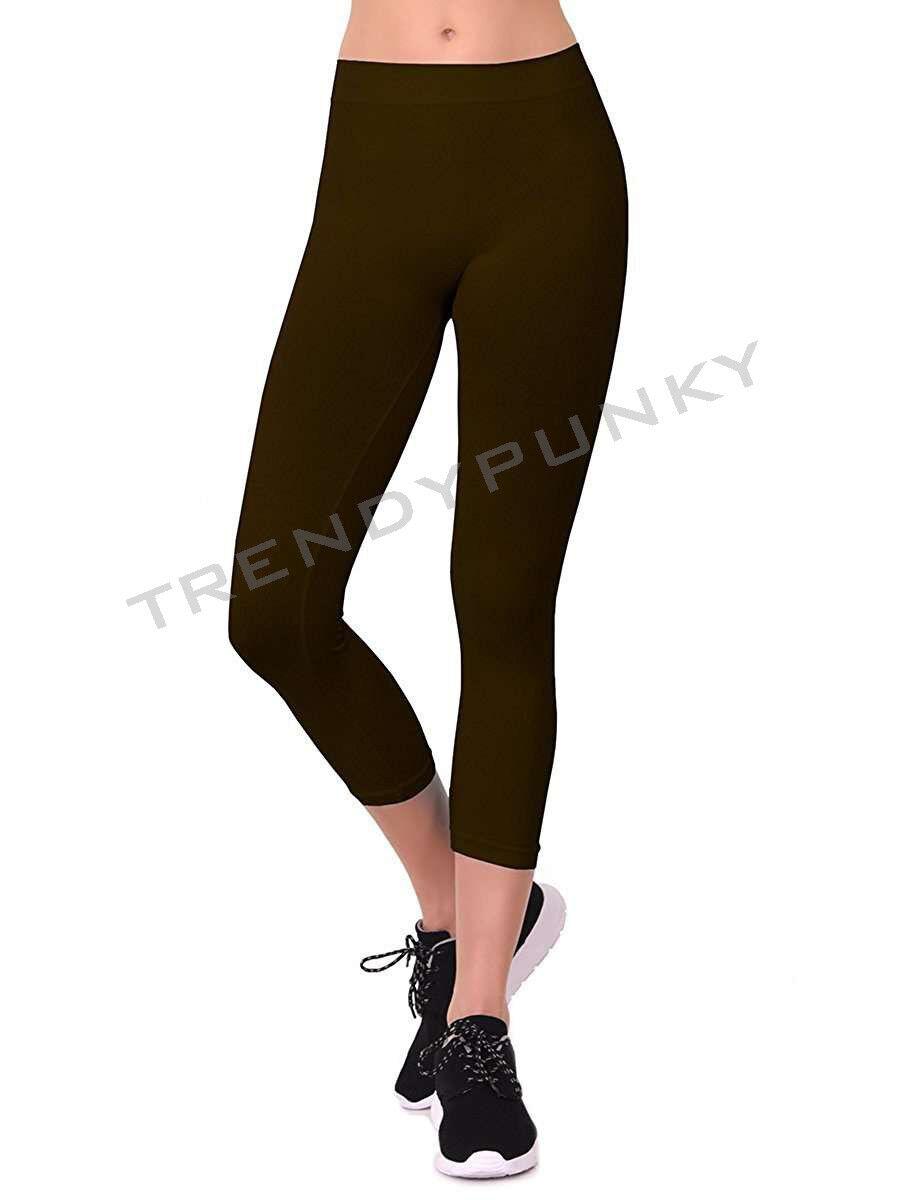 f4daebe502c53d Basic Seamless Solid Capri Leggings Stretchy REGULAR + PLUS SIZE ...