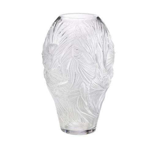 Lalique Poissons combattants medium vase - Clear