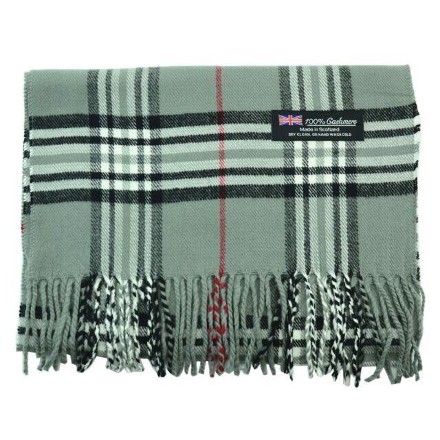Men Women 100% CASHMERE Scarf tartan Plaid Design Soft MADE IN SCOTLAND Gray