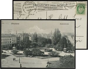 Christiana Studenterlunden, Norge / Norway postmark Kristiania 1907(Jan29)