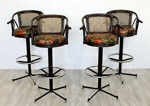 Mid-Century-Modern-Set-4-Cane-Rattan-Swivel-Bar-Stools-Umanoff-Style-1960s