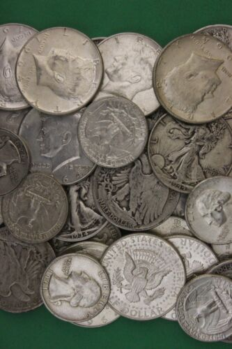 MAKE OFFER 9 Troy Ounces 1964 Kennedy Walking Washington Junk Silver Coins