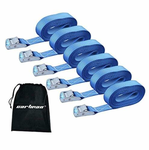 """Blue Color Cartman 1/"""" x 12/' Lashing Straps up to 600lbs 6//8//10 pk in Carry Bag"""