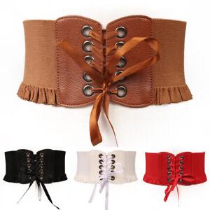 wide waist band lace up strap elastic belt punk women