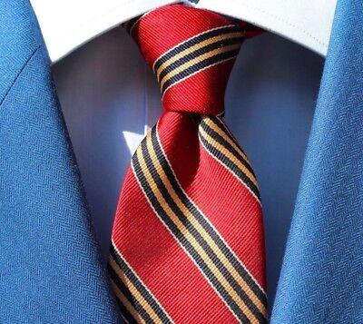 Lands' End Gentleman's Red, Blue, & Gold Striped All Silk Necktie