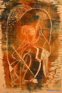 Musica-Sacra-Original-Handdruck-von-R-Fay-Chellospielerin