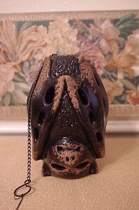 Halloween Hanging Bat Votive Pottery Candle Holder New