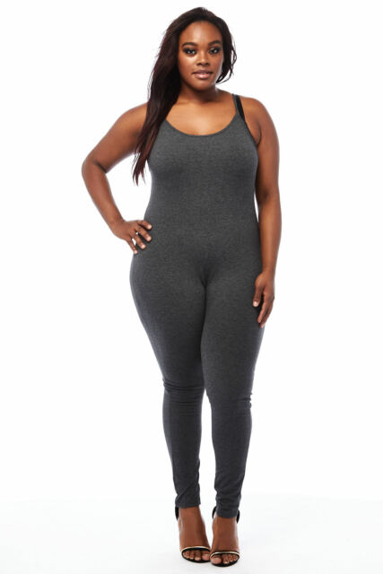 Womens Basic Plus  Stretch Pull On Solid Tank Top Strap Catsuit Bodycon GKJ5330
