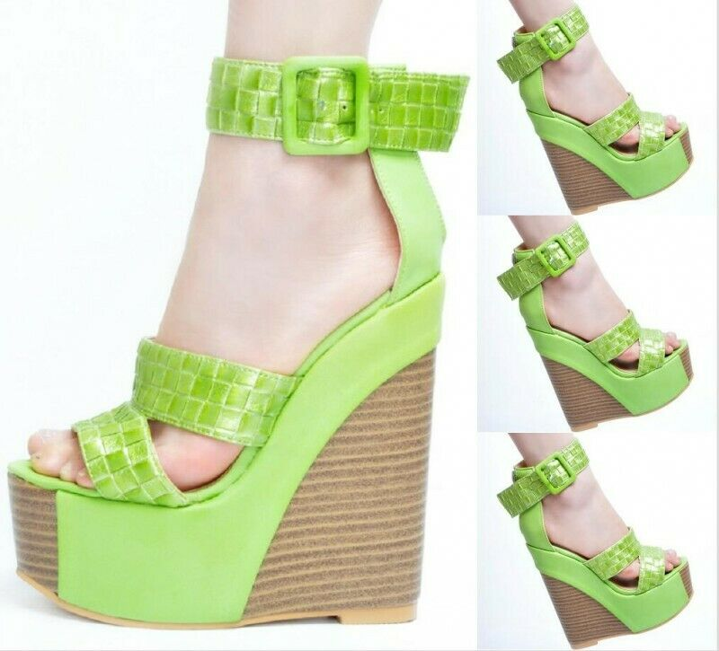 Ladies Womens Summer Wedges 15cm Heel Gladiator Sandals shoes Size Green Brown