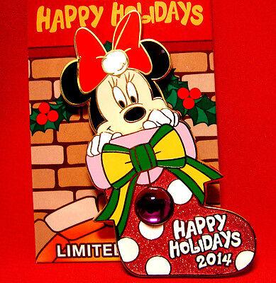 Disney Pin 2014 Happy Holidays Minnie Stocking+Mickey Christmas Party MVMCP Map
