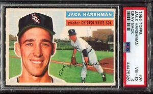 1956-Topps-Baseball-29-JACK-HARSHMAN-Chicago-White-Sox-Gray-Back-PSA-4-VG-EX