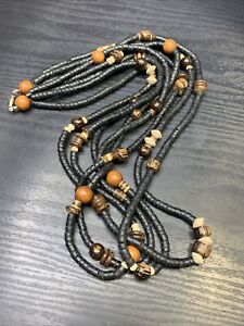 Vintage-Bohemian-Exotic-LongWood-Beaded-Multi-Strand-Necklace-26-Black-Brown
