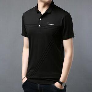 Fashion-Mens-Summer-Slim-Fit-Shirt-Business-Casual-Short-Sleeve-Lapel-Collar-New