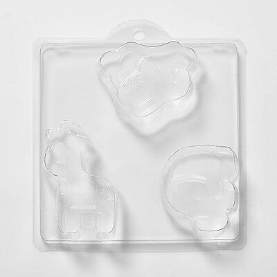 3 Cavity Animals Elephant, Giraffe & Rabbit Soap Mould N27 Pack of 10 FREE P&P