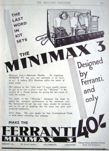 1932 FERRANTI /'MINIMAX 3/' Wireless Radio Receiver Kit ADVERT Original Print AD