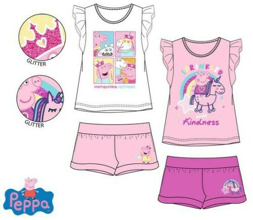 92-116 Neu Schlafanzug Shorty Pyjama Mädchen Peppa Pig Wutz Kinder T-Shirt Gr