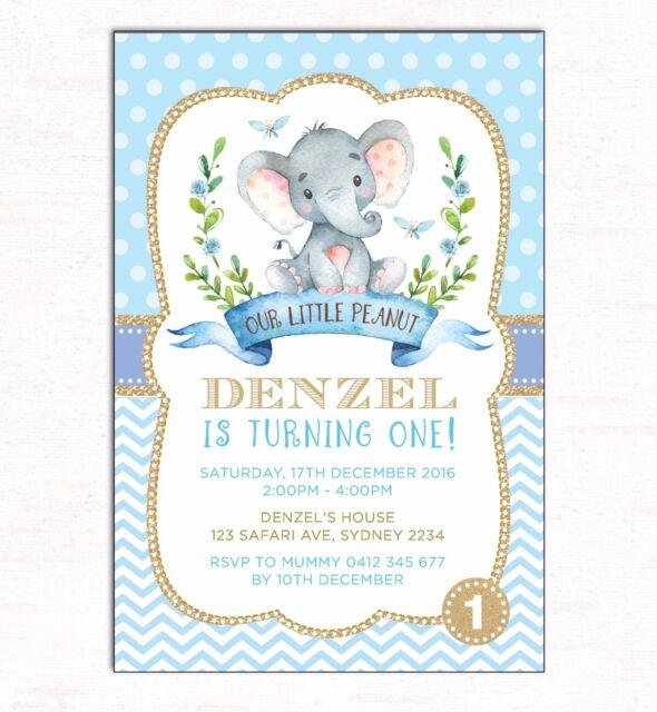 Boy Elephant Invitation 1st First Birthday Blue Gold Party Jungle Invite Baptism