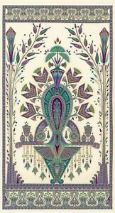 Fabric-Egyptian-Floral-Valley-of-the-Kings-Jewel-Cream-Cotton-23-x42-Panel
