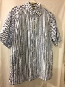 38b55b1d03 Men's LL Bean Short Sleeve Button Up Striped -Traditional Fit- Shirt ...