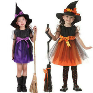 Toddler-Kids-Baby-Girls-Witch-Costume-Clothes-Party-Dress-Hat-Fancy-Outfit-USA