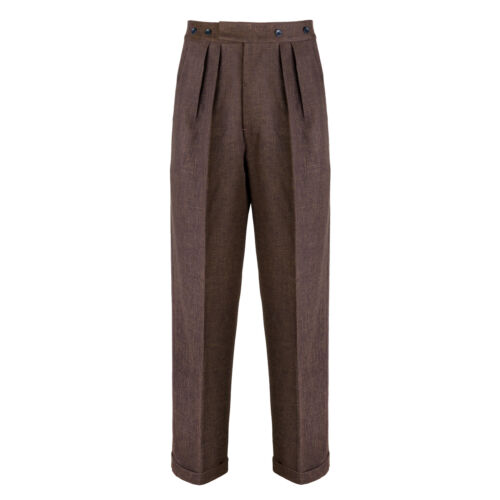 1940s UK and Europe Men's Clothing – WW2, Swing Dance, Goodwin    Mens Authentic 1940s Swing Vintage Style Dark Brown Fishtail Highwaist Trousers £75.95 AT vintagedancer.com