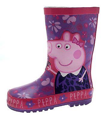 Pink Girls Waterproof Wellies Peppa Pig Karmina Wellington Boots Size 4-10