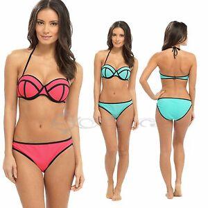 Ladies Neon Bra Bikini Padded Underwired Cups Swimming Costume Sizes